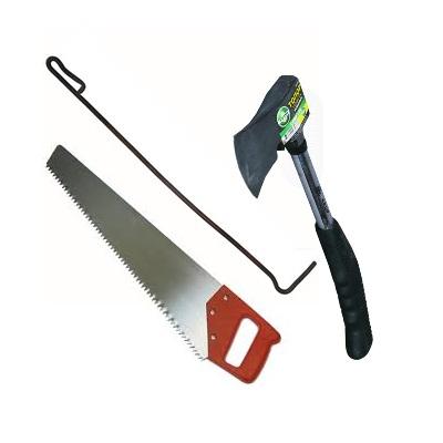 Костровые принадлежности - топор, ножовка, кочерга